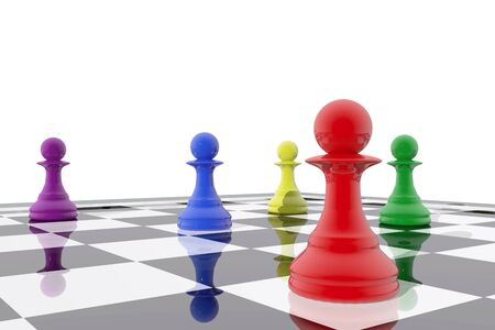 board games: Chess pawns in different colors