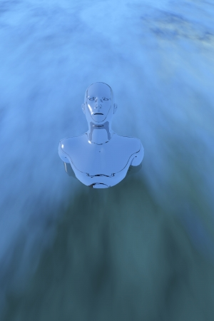 Human figure emerging from the water photo