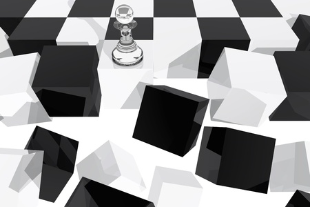 One pawn on collapsing chessboard  photo