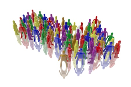 Figures in multiple colors forming an arrow Stock Photo
