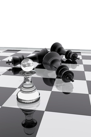 defeated: Chess pawn victory over the kings Stock Photo