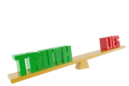 outweighing: Truth and lies symbols in balance