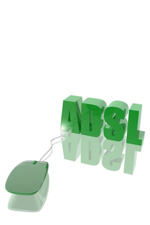 adsl: Computer mouse and ADSL symbol