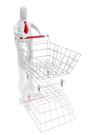 Character with shopping cart photo