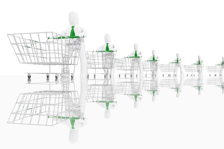 Many charactesr with shopping cart