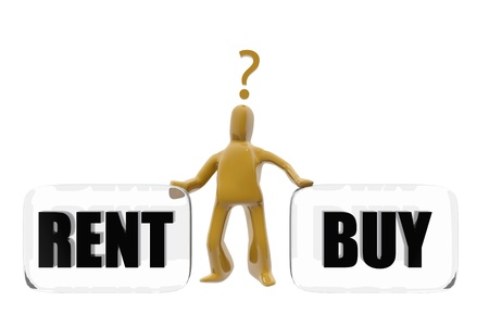 deciding: Character deciding whether to buy or rent