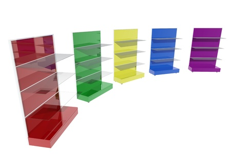 Colorful furniture shelves photo