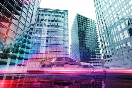 Futuristic car in the city