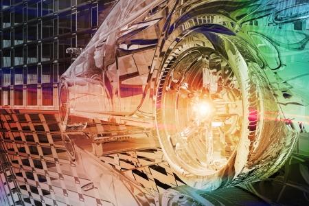 futuristic city: Wheel close up of futuristic car  Stock Photo