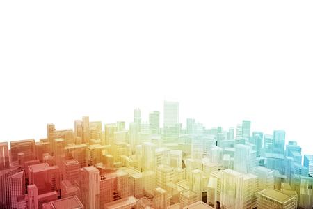 Aerial cityscape of futuristic city Stock Photo