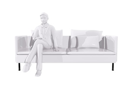 Businessman sitting on a couch Stock Photo