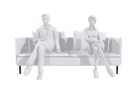 Two business people sitting on a couch