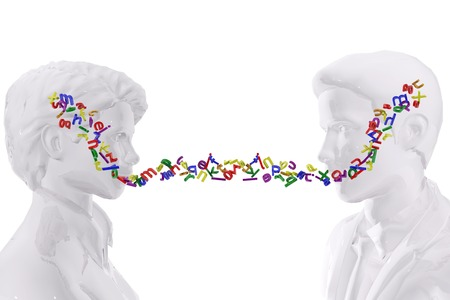 Two persons talking.  Language concept