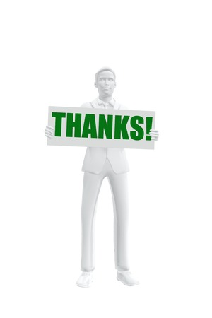 Businessman holding a Thank you message