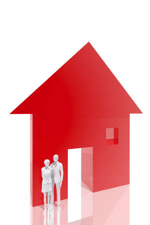 family outside house: Couple and house symbol Stock Photo