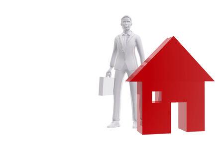 Salesman and house symbol