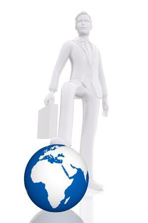Businessman dominating earth