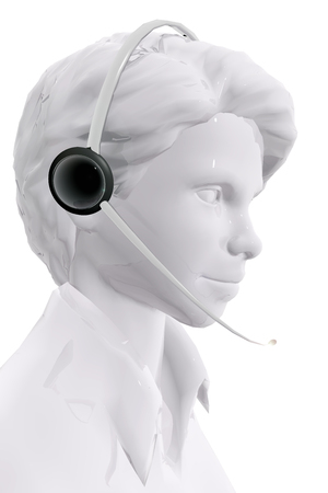 Woman with headphones.  Customer service concept Stock Photo