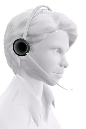 tele communication: Woman with headphones.  Customer service concept Stock Photo