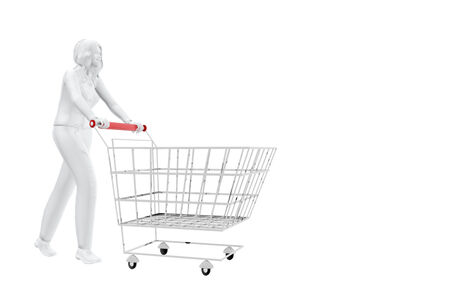 woman shopping cart: Woman with shopping cart
