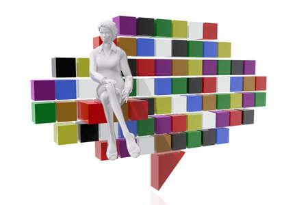 Businesswoman and communication symbol
