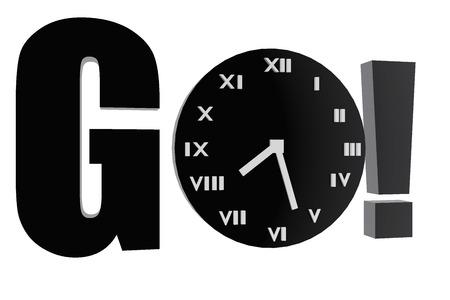 Go and clock symbol