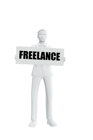 Man with freelance message Stock Photo