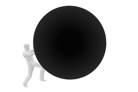 sisyphus: Person pushing big ball up Stock Photo