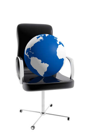 Office chair and earth globe Stock Photo