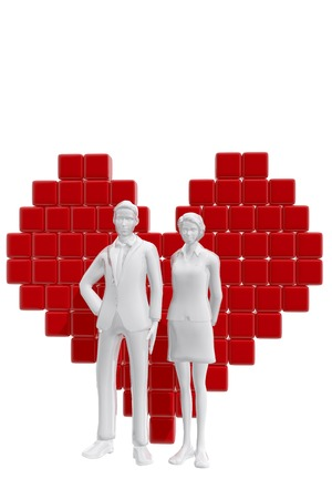 Couple with heart symbol.  Love concept