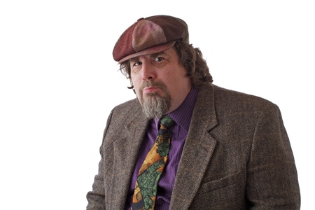 double chin: Heavy middle-aged man with goatee, cap and tweed jacket with thoughtful expression. Horizontal, isolated on white, copy space. Stock Photo