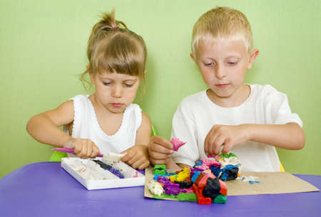 clay modeling: Kids passionate about modeling from clay