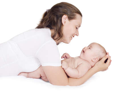 untruth: Woman playing with baby, a white background Stock Photo