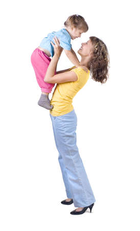 parentage: Mom playing with baby, White background Stock Photo