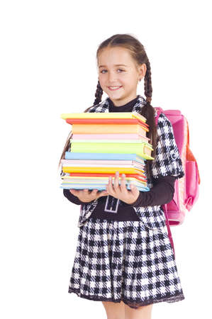 Girl with a briefcase and books, white background Stock Photo - 7940741