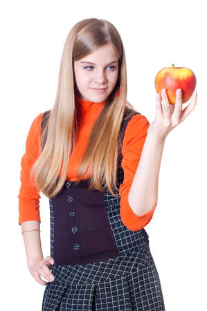 teeny: The girl with an apple in a hand, a white background