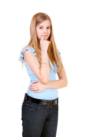 The girl the teenager has reflected, a white background Stock Photo - 8233166