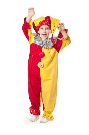 Funny child clown costume Stock Photo