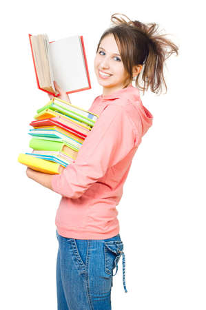 teener: The girl with a heap of books on a white background