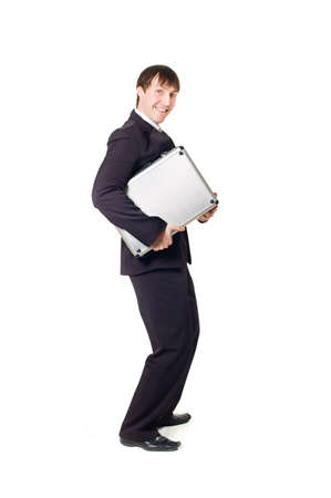 Businessman with briefcase on a white background photo