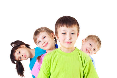 likeness: Cheerful children, a white background
