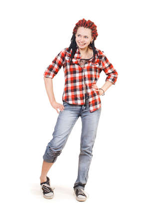 slovenly: A girl in a shirt laughs