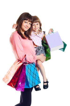 chicas comprando: Fondo de chica con un niño con compras, blanco