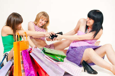 Girls fight from behind shoes photo