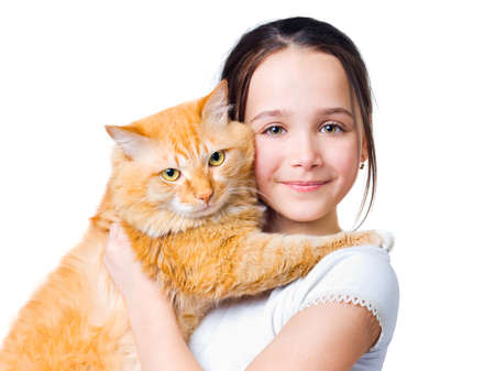 12 year old: A girl with a big red cat in her arms