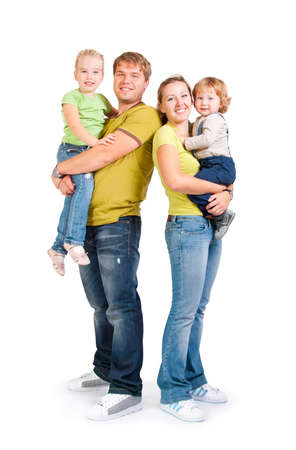family with childrens on a white background Stock Photo - 10799495