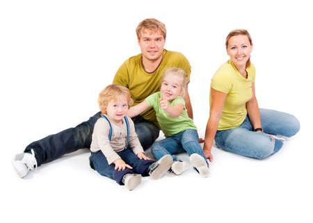 family with childrens on a white background Stock Photo - 10799501