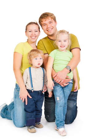 family with childrens on a white background Stock Photo - 10799496