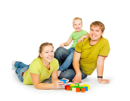 family with children on a white background Stock Photo - 10799494