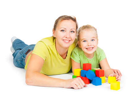 mother with children on a white background Stock Photo - 10799499